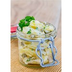 Potato salad in a jar on wooden Heart Bottom 3D Greeting Card (7x5) Inside