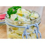 Potato salad in a jar on wooden WORK HARD 3D Greeting Card (7x5) Back