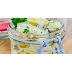 Potato salad in a jar on wooden Merry Xmas 3D Greeting Card (8x4) Front