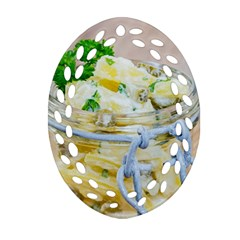 Potato Salad In A Jar On Wooden Ornament (oval Filigree)