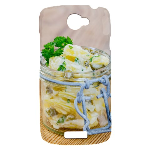 Potato salad in a jar on wooden HTC One S Hardshell Case