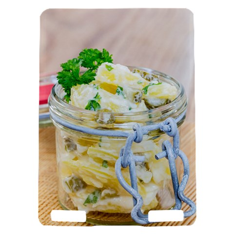 Potato salad in a jar on wooden Kindle Touch 3G