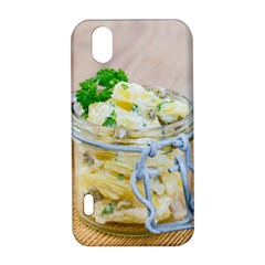 Potato salad in a jar on wooden LG Optimus P970