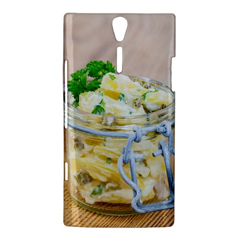 Potato salad in a jar on wooden Sony Xperia S