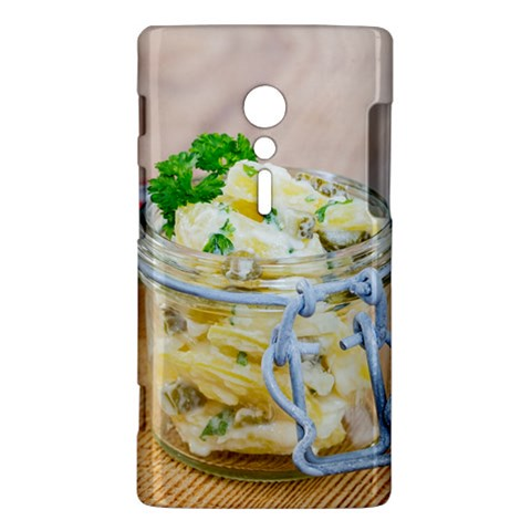 Potato salad in a jar on wooden Sony Xperia ion