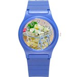 Potato salad in a jar on wooden Round Plastic Sport Watch (S) Front