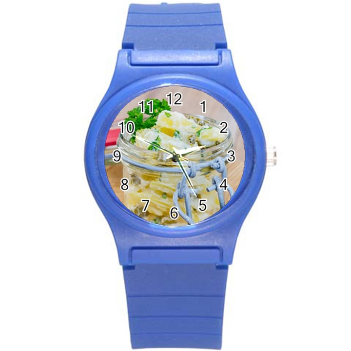 Potato salad in a jar on wooden Round Plastic Sport Watch (S)