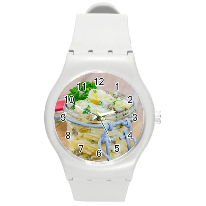 Potato salad in a jar on wooden Round Plastic Sport Watch (M)