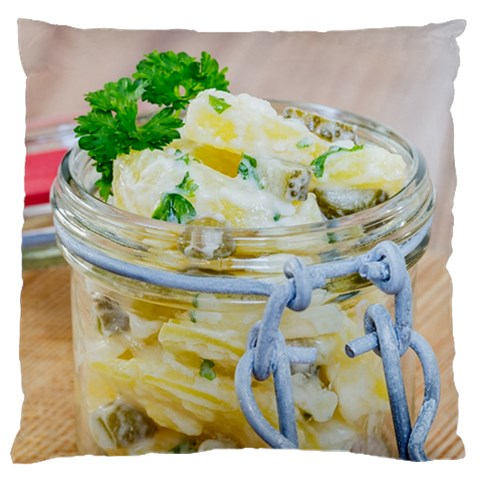 Potato salad in a jar on wooden Large Cushion Case (Two Sides)
