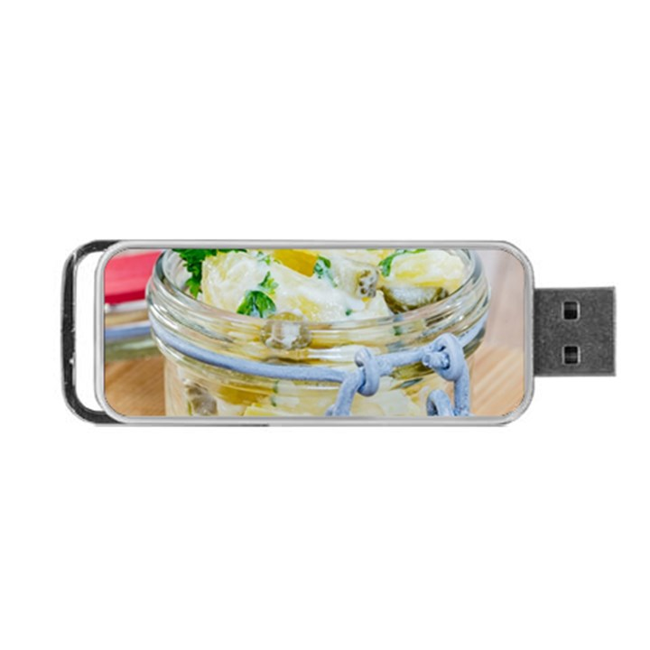 Potato salad in a jar on wooden Portable USB Flash (One Side)