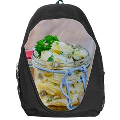 Potato Salad In A Jar On Wooden Backpack Bag