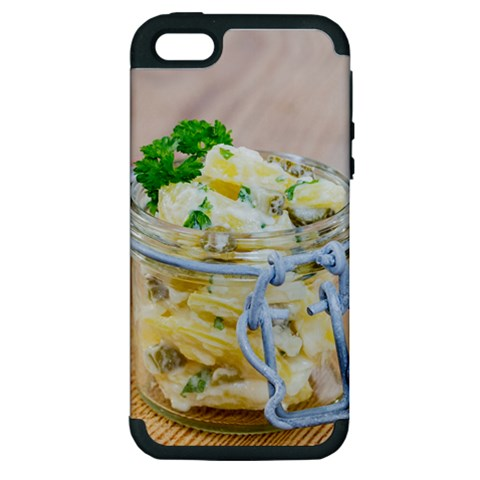 Potato salad in a jar on wooden Apple iPhone 5 Hardshell Case (PC+Silicone)