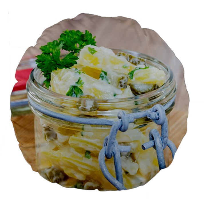 Potato salad in a jar on wooden Large 18  Premium Round Cushions