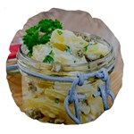 Potato salad in a jar on wooden Large 18  Premium Round Cushions Back