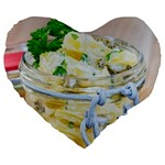 Potato salad in a jar on wooden Large 19  Premium Heart Shape Cushions Front