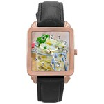 Potato salad in a jar on wooden Rose Gold Leather Watch  Front