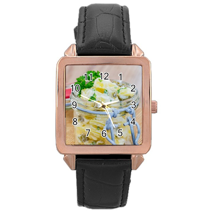 Potato salad in a jar on wooden Rose Gold Leather Watch