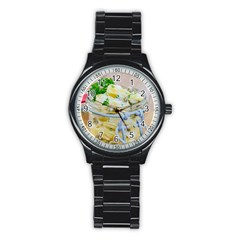 Potato Salad In A Jar On Wooden Stainless Steel Round Watch