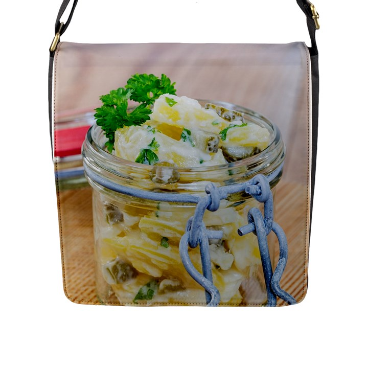 Potato salad in a jar on wooden Flap Messenger Bag (L)