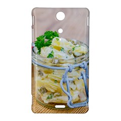 Potato salad in a jar on wooden Sony Xperia TX