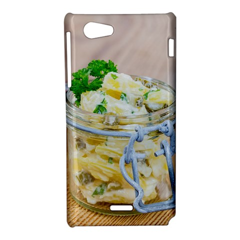 Potato salad in a jar on wooden Sony Xperia J
