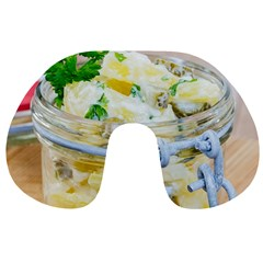 Potato salad in a jar on wooden Travel Neck Pillows