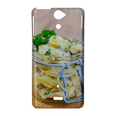 Potato salad in a jar on wooden Sony Xperia V
