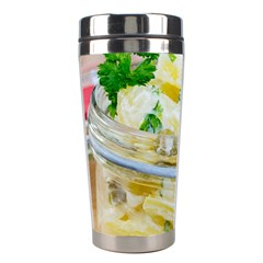 Potato salad in a jar on wooden Stainless Steel Travel Tumblers