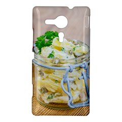Potato salad in a jar on wooden Sony Xperia SP