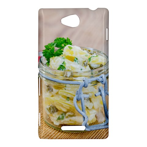 Potato salad in a jar on wooden Sony Xperia C (S39H)