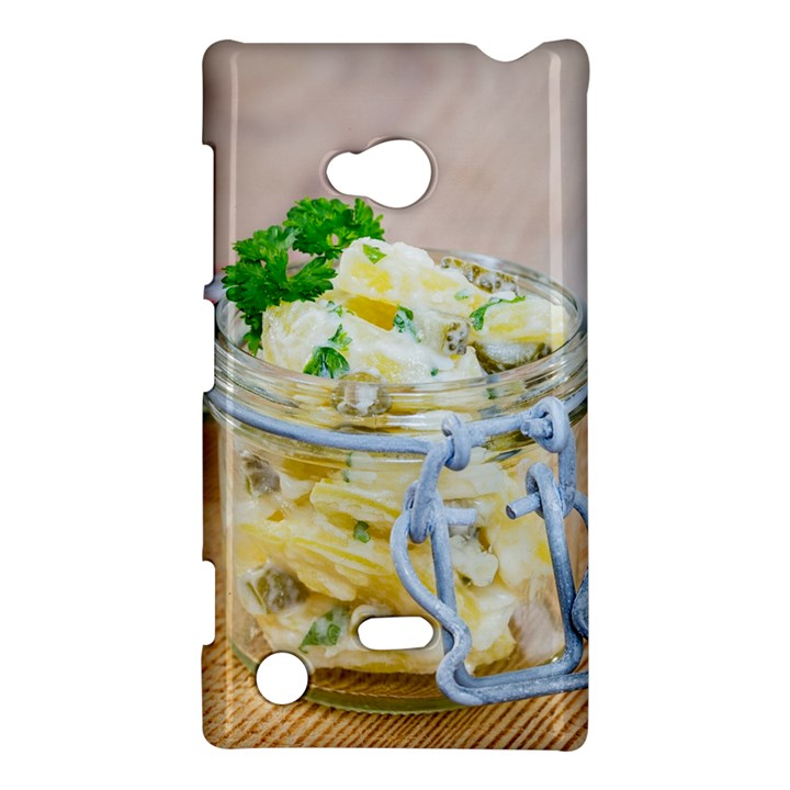 Potato salad in a jar on wooden Nokia Lumia 720