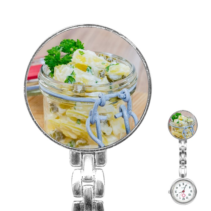 Potato salad in a jar on wooden Stainless Steel Nurses Watch