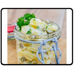 Potato Salad In A Jar On Wooden Double Sided Fleece Blanket (medium)