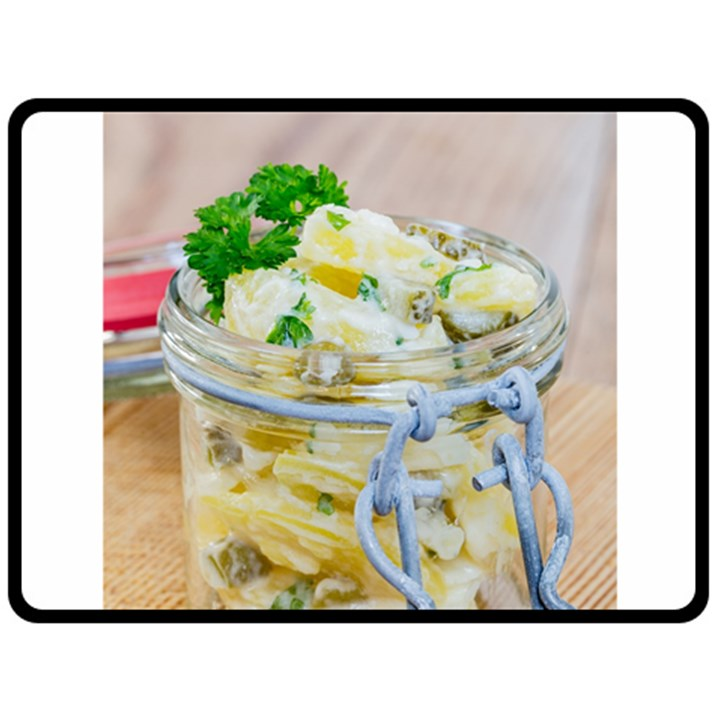 Potato salad in a jar on wooden Double Sided Fleece Blanket (Large)