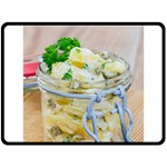 Potato salad in a jar on wooden Double Sided Fleece Blanket (Large)  80 x60 Blanket Back