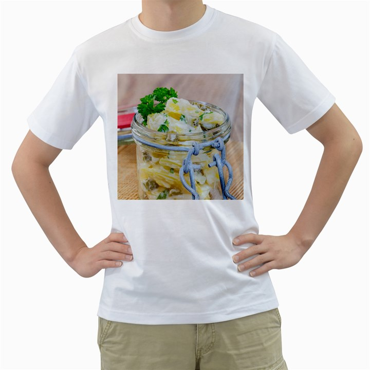 Potato salad in a jar on wooden Men s T-Shirt (White)