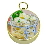 Potato salad in a jar on wooden Gold Compasses Front