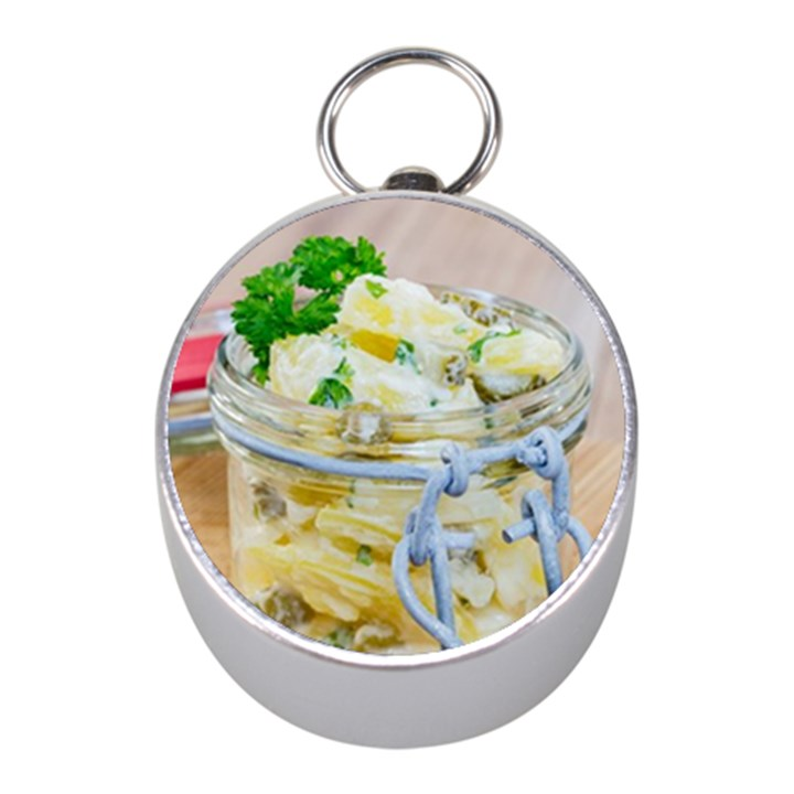 Potato salad in a jar on wooden Mini Silver Compasses