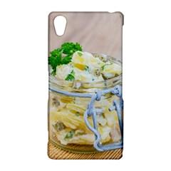 Potato salad in a jar on wooden Sony Xperia Z2