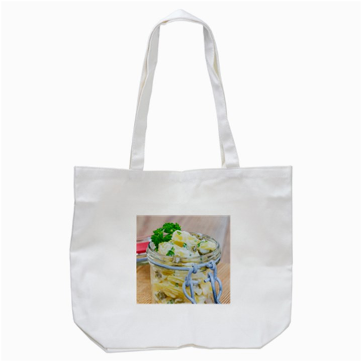 Potato salad in a jar on wooden Tote Bag (White)