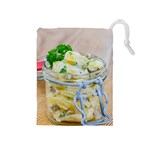 Potato salad in a jar on wooden Drawstring Pouches (Medium)  Front