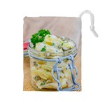 Potato salad in a jar on wooden Drawstring Pouches (Large)  Front