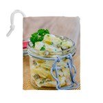Potato salad in a jar on wooden Drawstring Pouches (Large)  Back