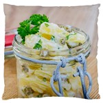 Potato salad in a jar on wooden Large Flano Cushion Case (Two Sides) Front