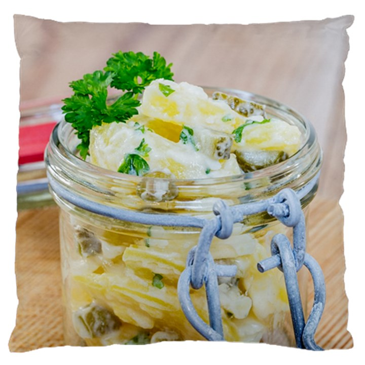 Potato salad in a jar on wooden Large Flano Cushion Case (Two Sides)