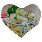 Potato salad in a jar on wooden Large 19  Premium Flano Heart Shape Cushions Front