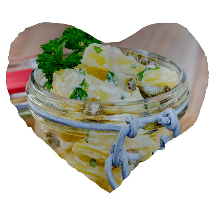 Potato salad in a jar on wooden Large 19  Premium Flano Heart Shape Cushions