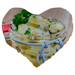 Potato salad in a jar on wooden Large 19  Premium Flano Heart Shape Cushions Back
