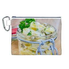 Potato Salad In A Jar On Wooden Canvas Cosmetic Bag (l)