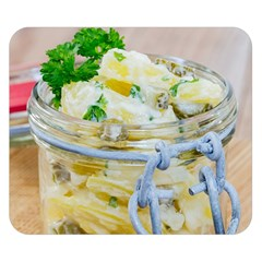 Potato Salad In A Jar On Wooden Double Sided Flano Blanket (small)